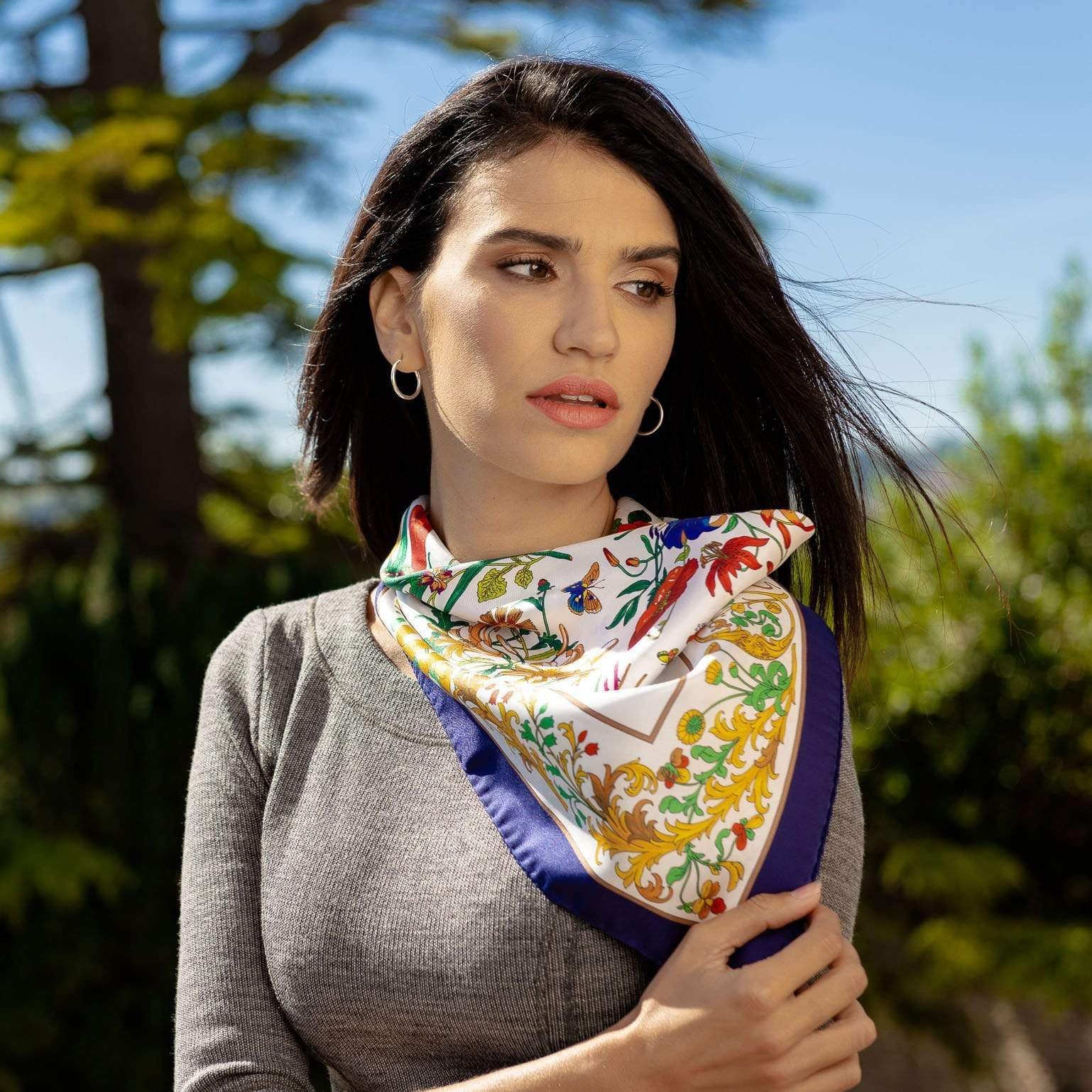 Womens Silk Neck Scarf - Made in Italy - Floral