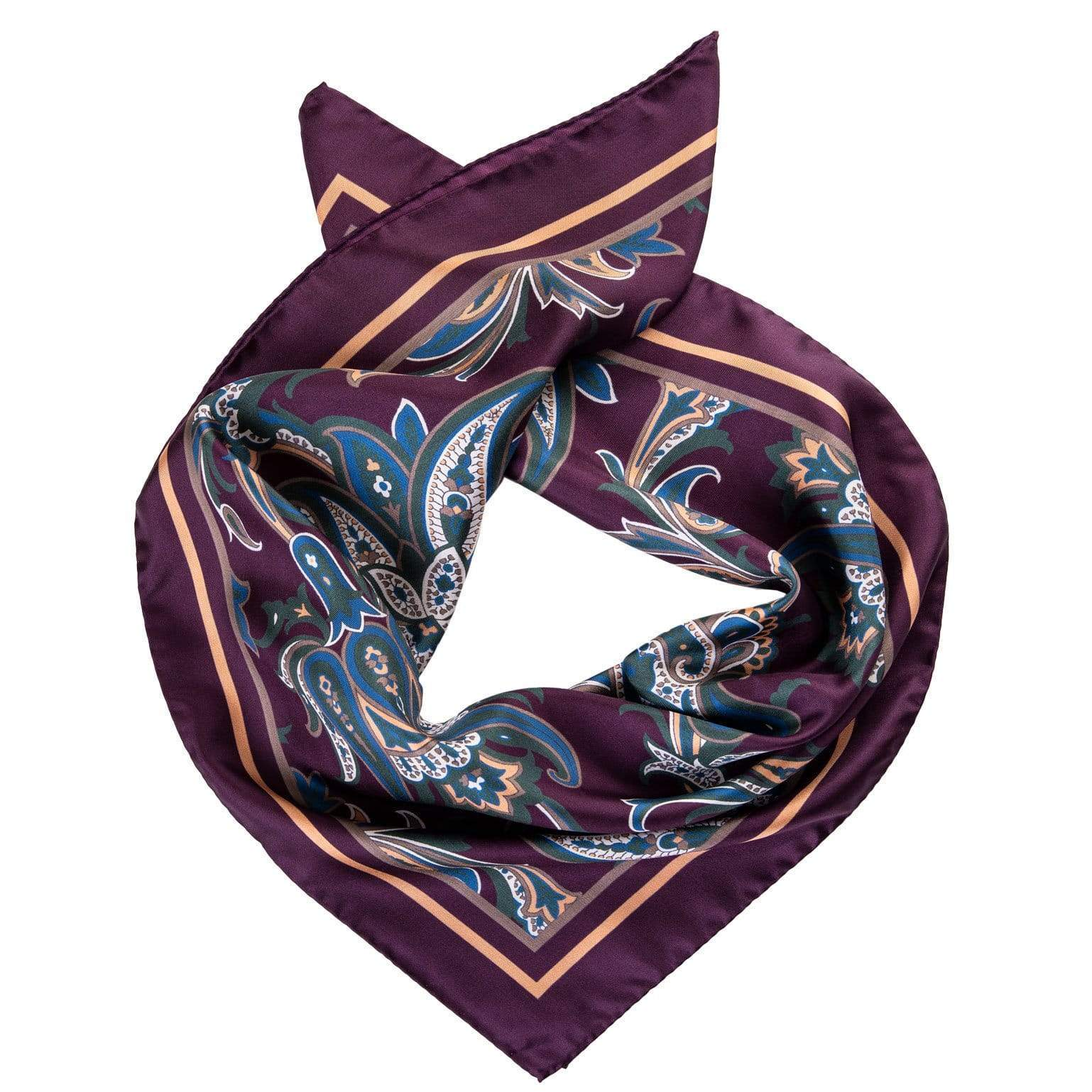 Mens Silk Neckerchief - Plum Paisley - Made in Italy