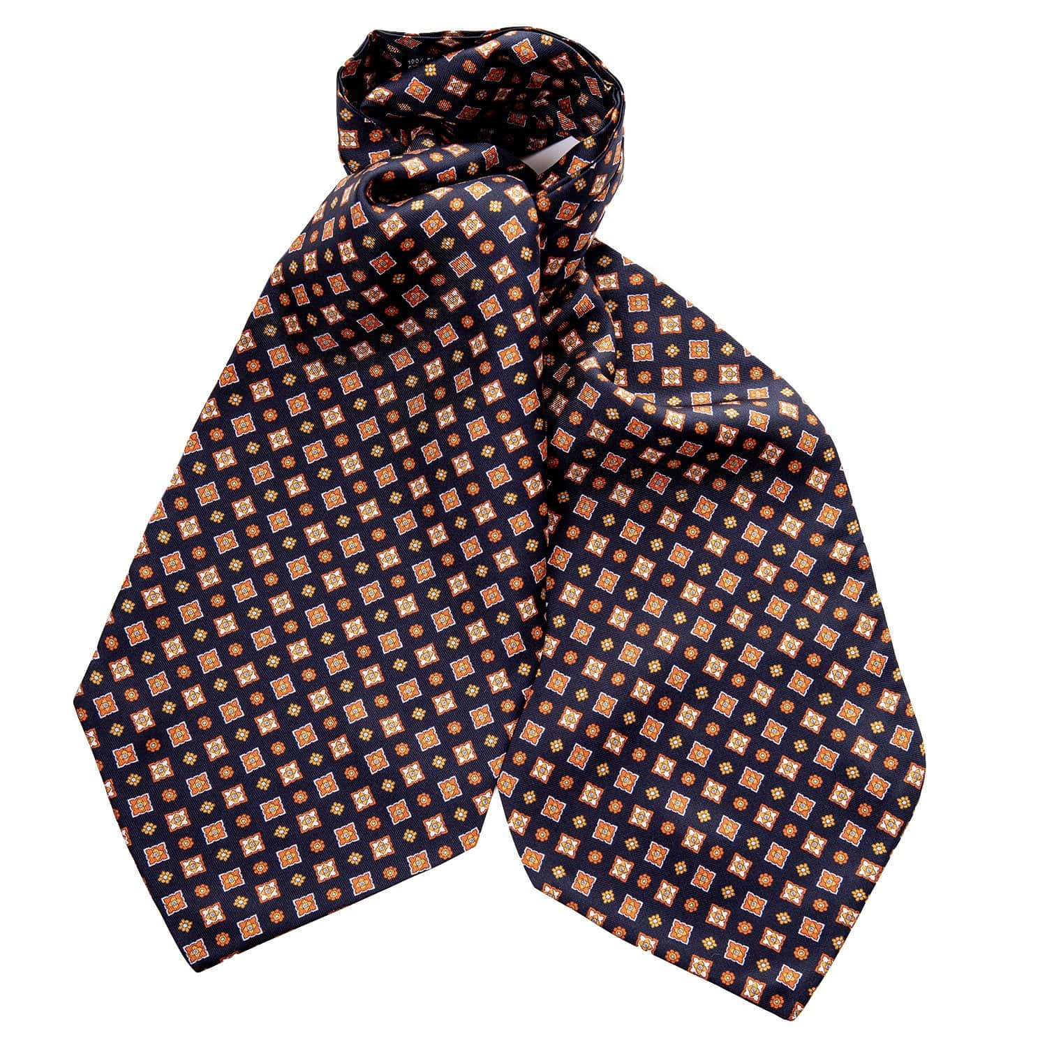Black Ascot Tie - Silk Twill - Made in Italy