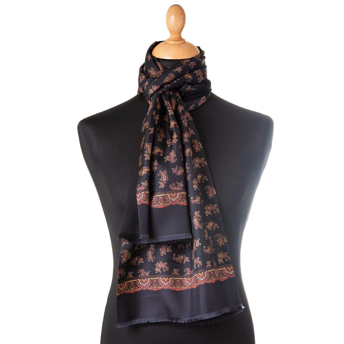 mens black silk dress scarf