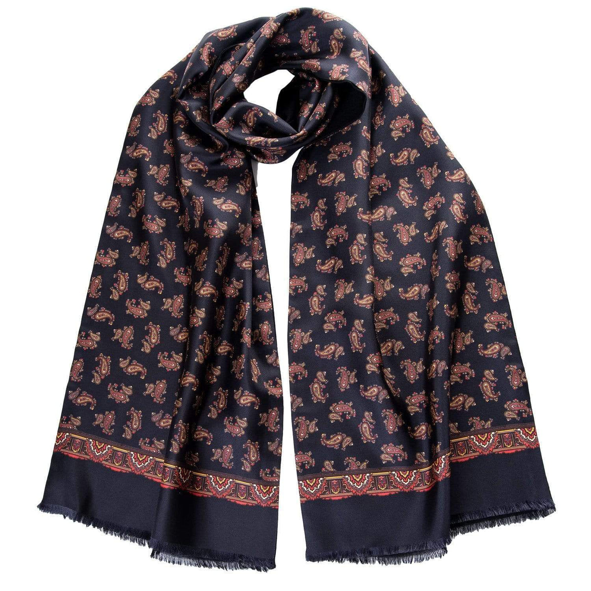 Mens Reversible Silk and Wool Scarf - Black Paisley