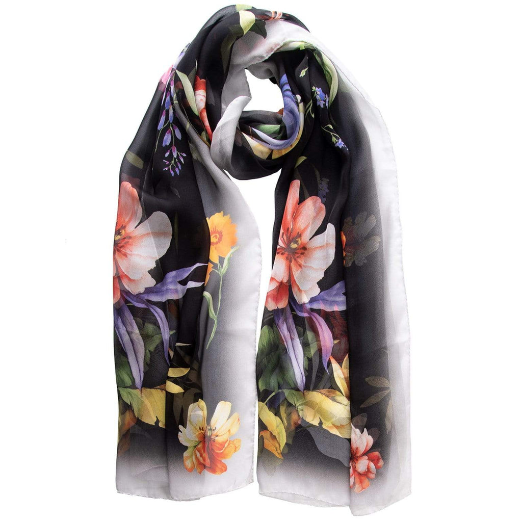 Floral Shawl - Black Chiffon Shawl - Made in Italy