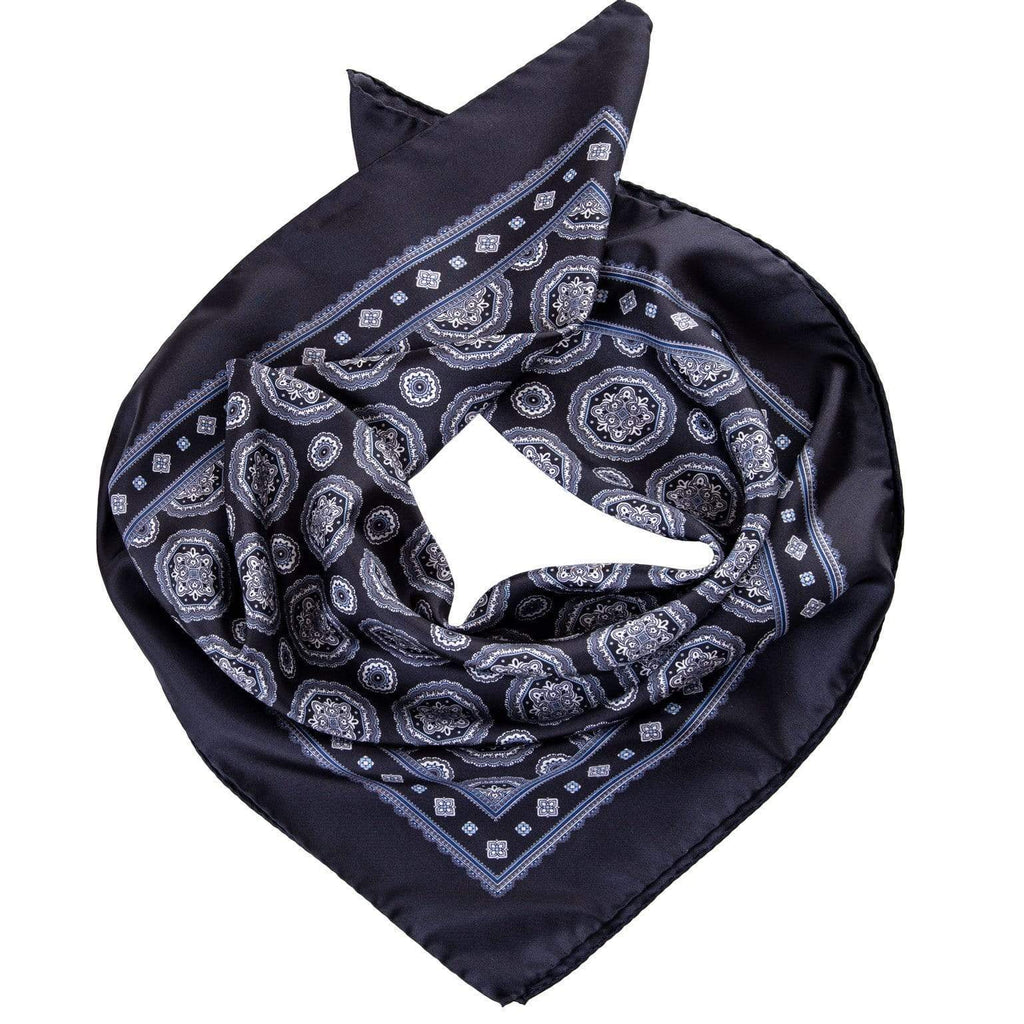 Mens Silk Neckerchief - Black and White Print