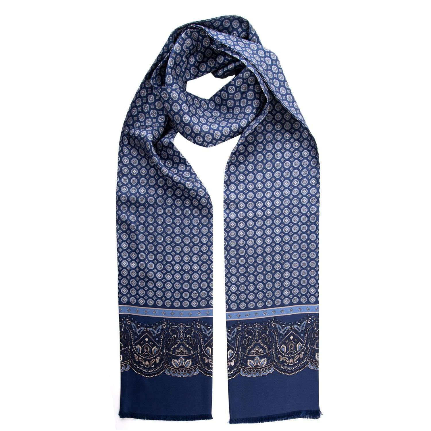 Mens Silk Dress Scarf - Blue - 100% Made in Italy