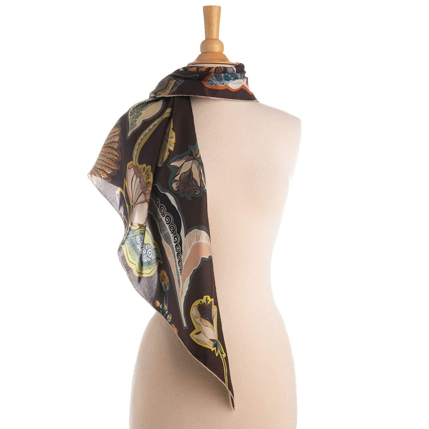 Brown Floral Silk Triangle Scarf - Made in Italy