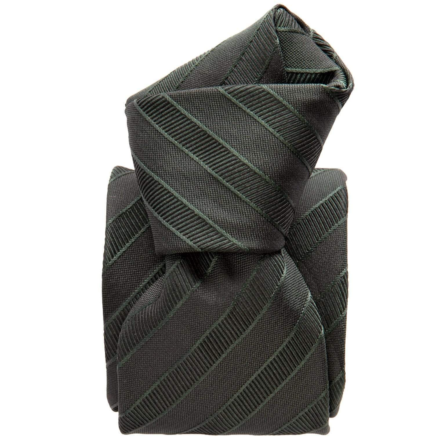 Forest Green Striped Tie - 3 Fold - Made in Italy