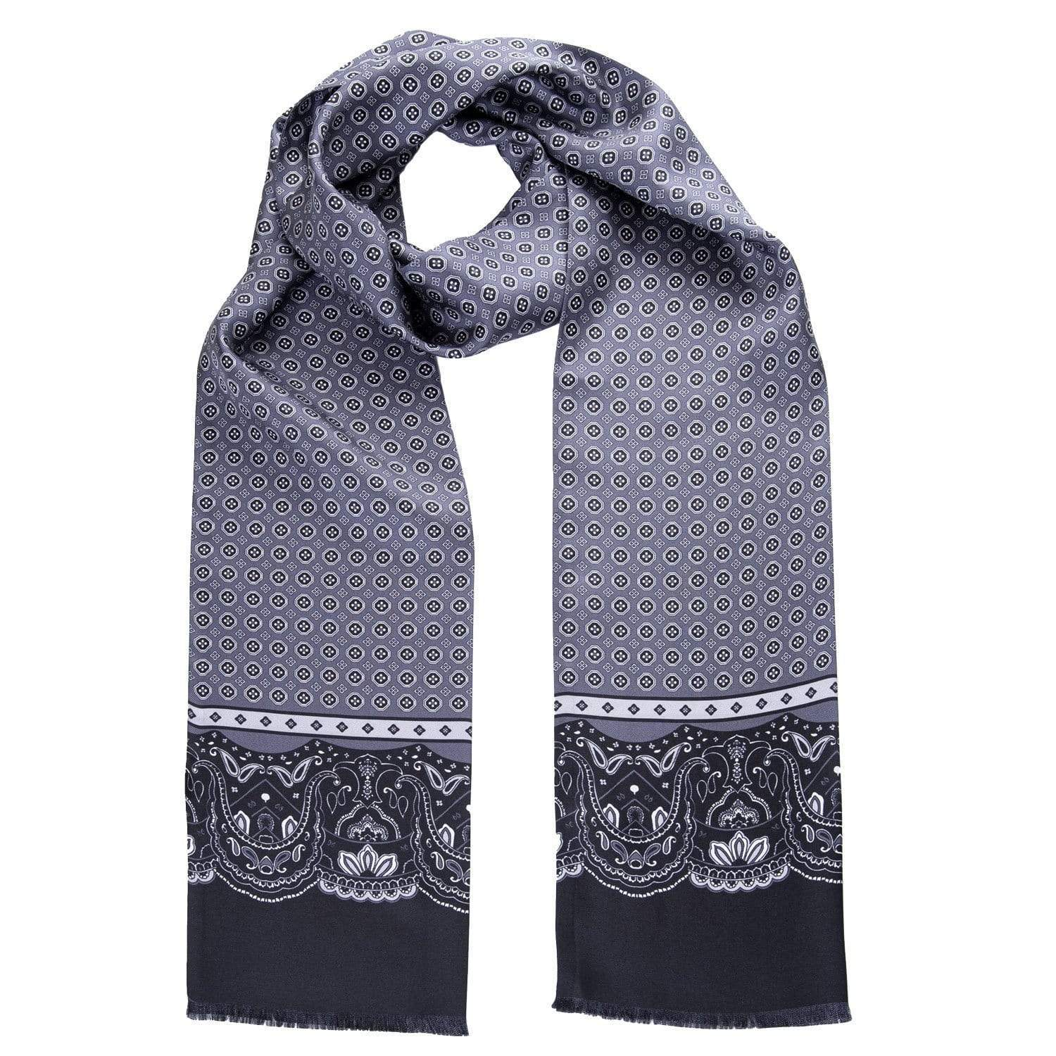 Grey Silk Dress Scarf - Tubular - Made in Italy