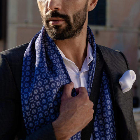Luxury mens Italian silk scarf