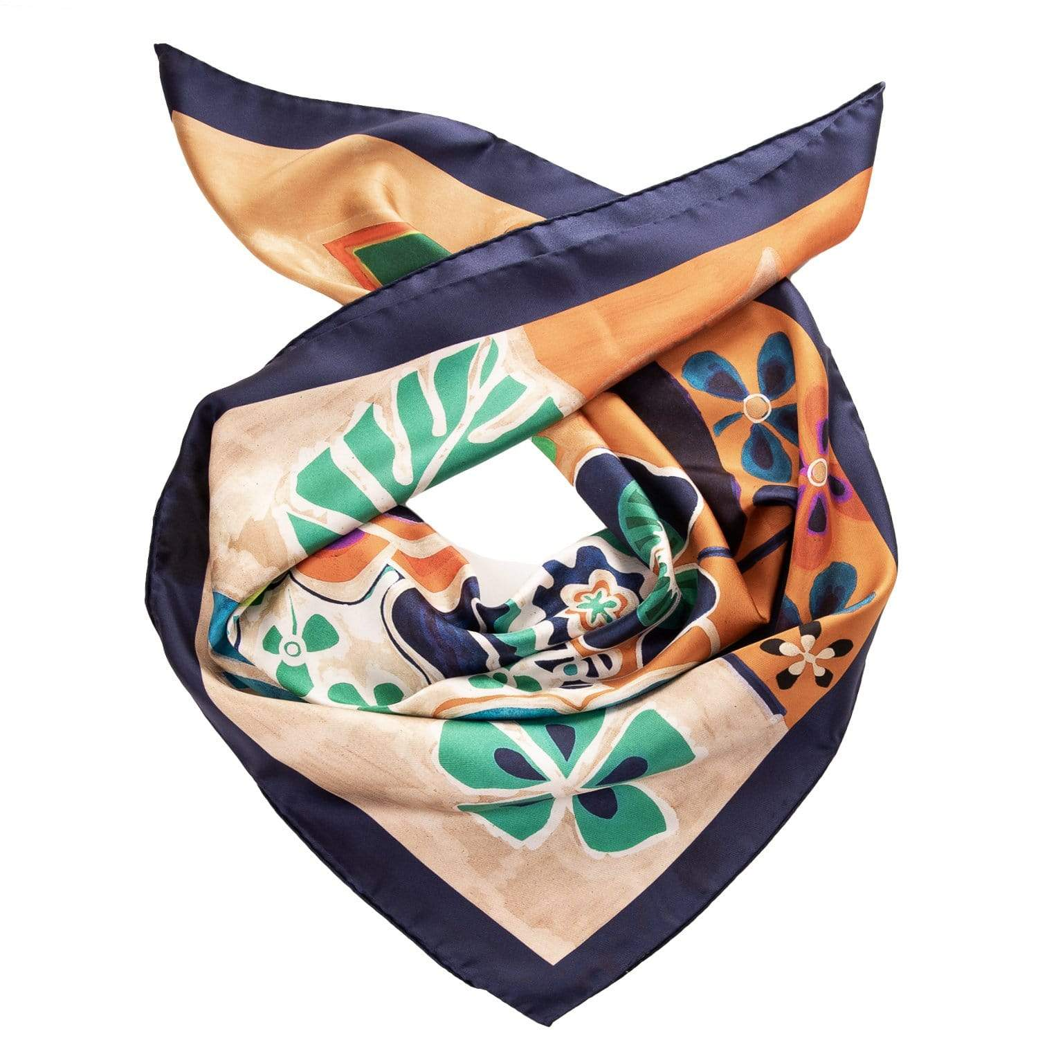 Floral Silk Foulard Scarf - Made in Como, Italy