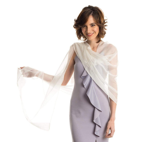 White Chiffon Wrap - Sheer Silk Evening Shawl