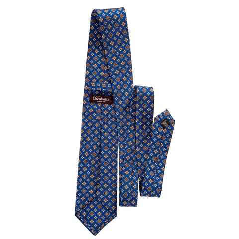patterned blue silk necktie