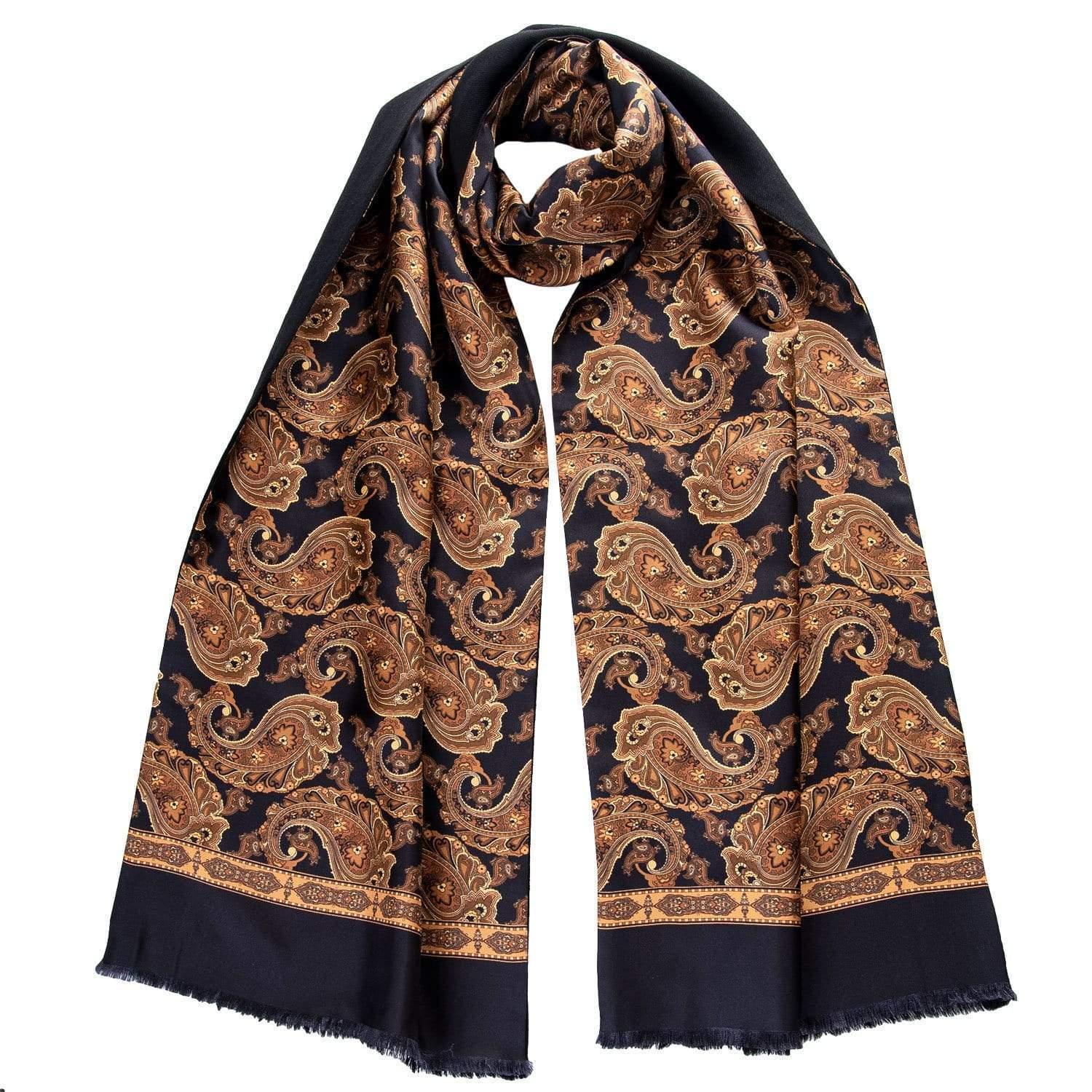Italian Silk Wool Scarf - Black Gold Bronze Paisley