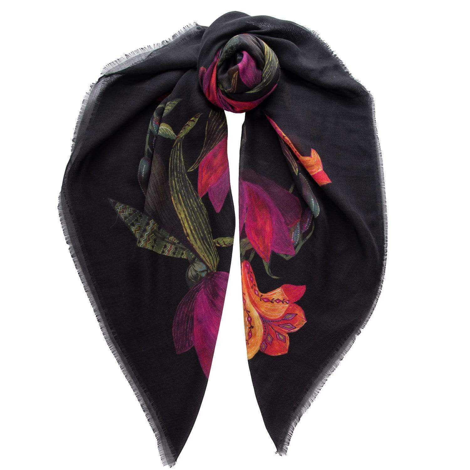 Oversized Wool Scarf With Silk - Magenta