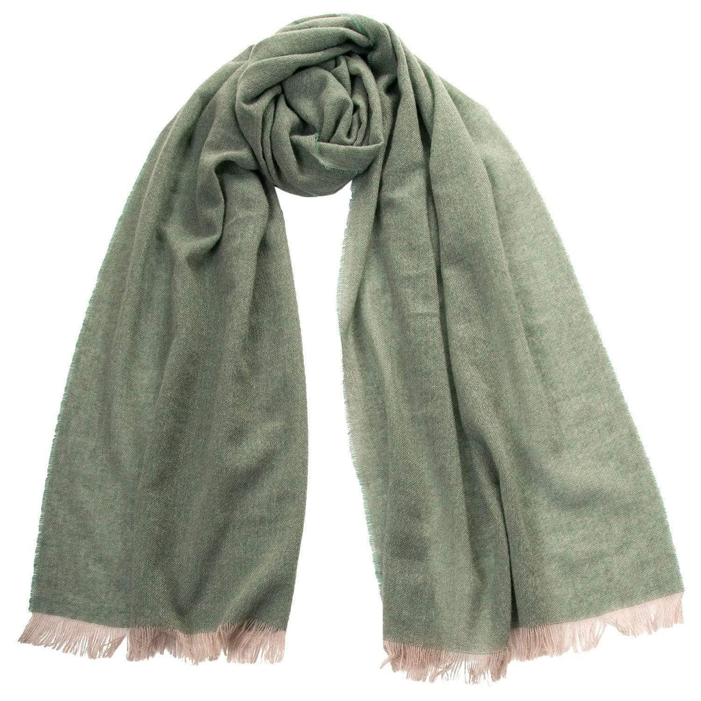 Green Cashmere Scarf Shawl - Made in Italy - Woven