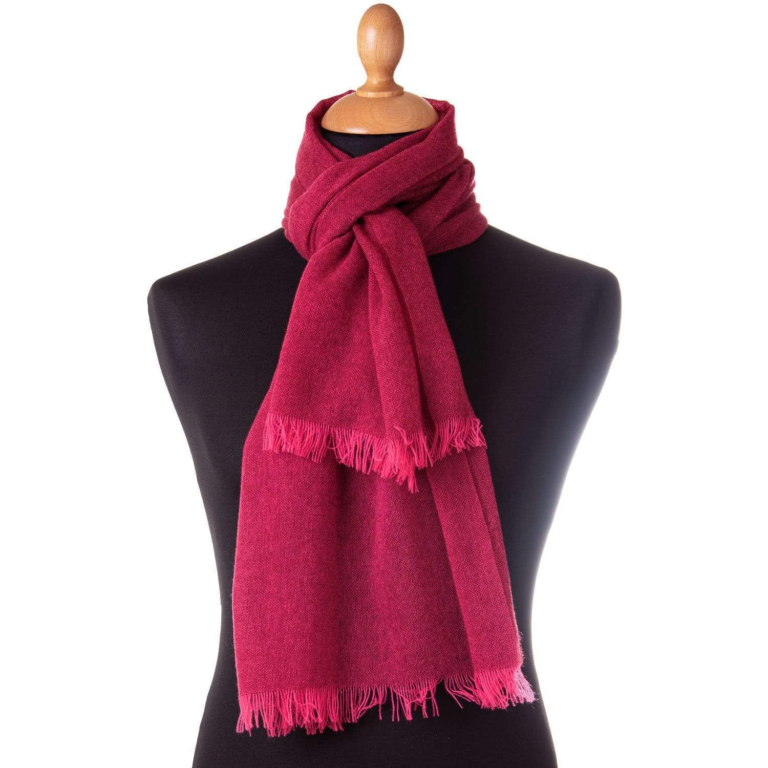 Red Cashmere Scarf - Italian Lightweight Wide Wrap