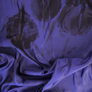 Formal Shawl - Handmade in Italy - Sapphire Blue Silk