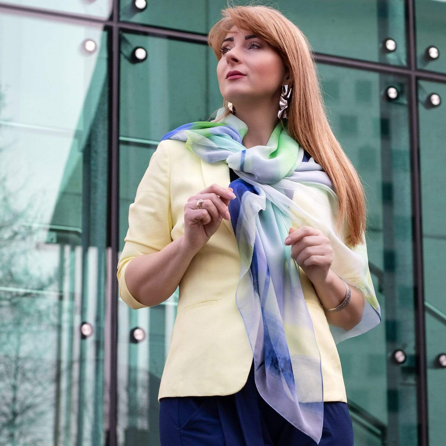Blue Green Silk Scarf - Geometric - Made in Italy