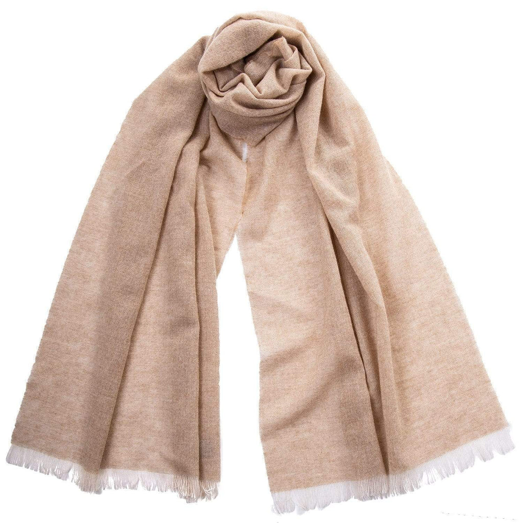 Wool and Cashmere Scarf - Beige - Made in Italy