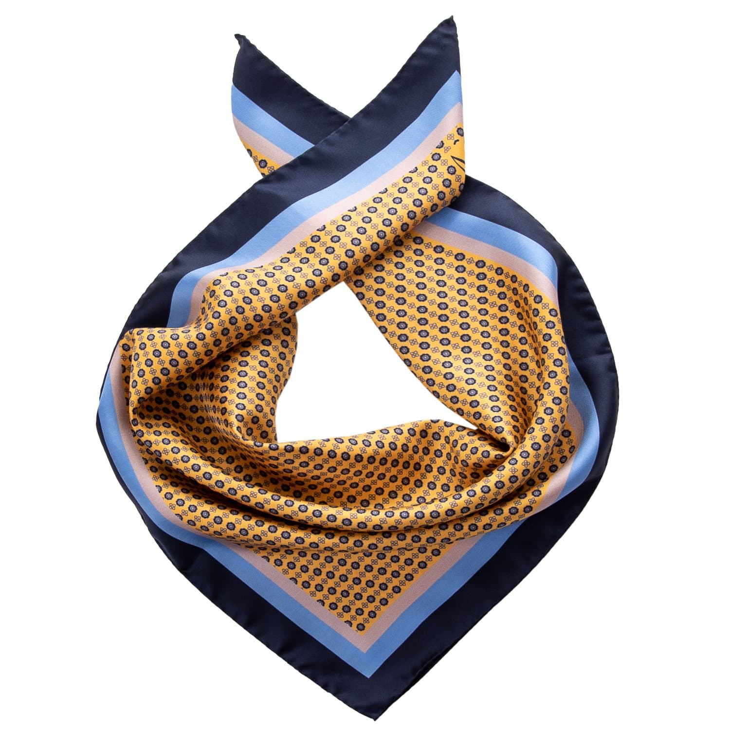 Mens Silk Neckerchief - Yellow Print - Made in Italy