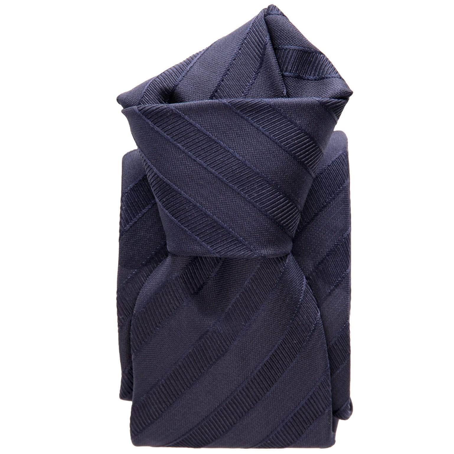 Navy Blue Striped Tie - 3 Fold - Made in Como Italy
