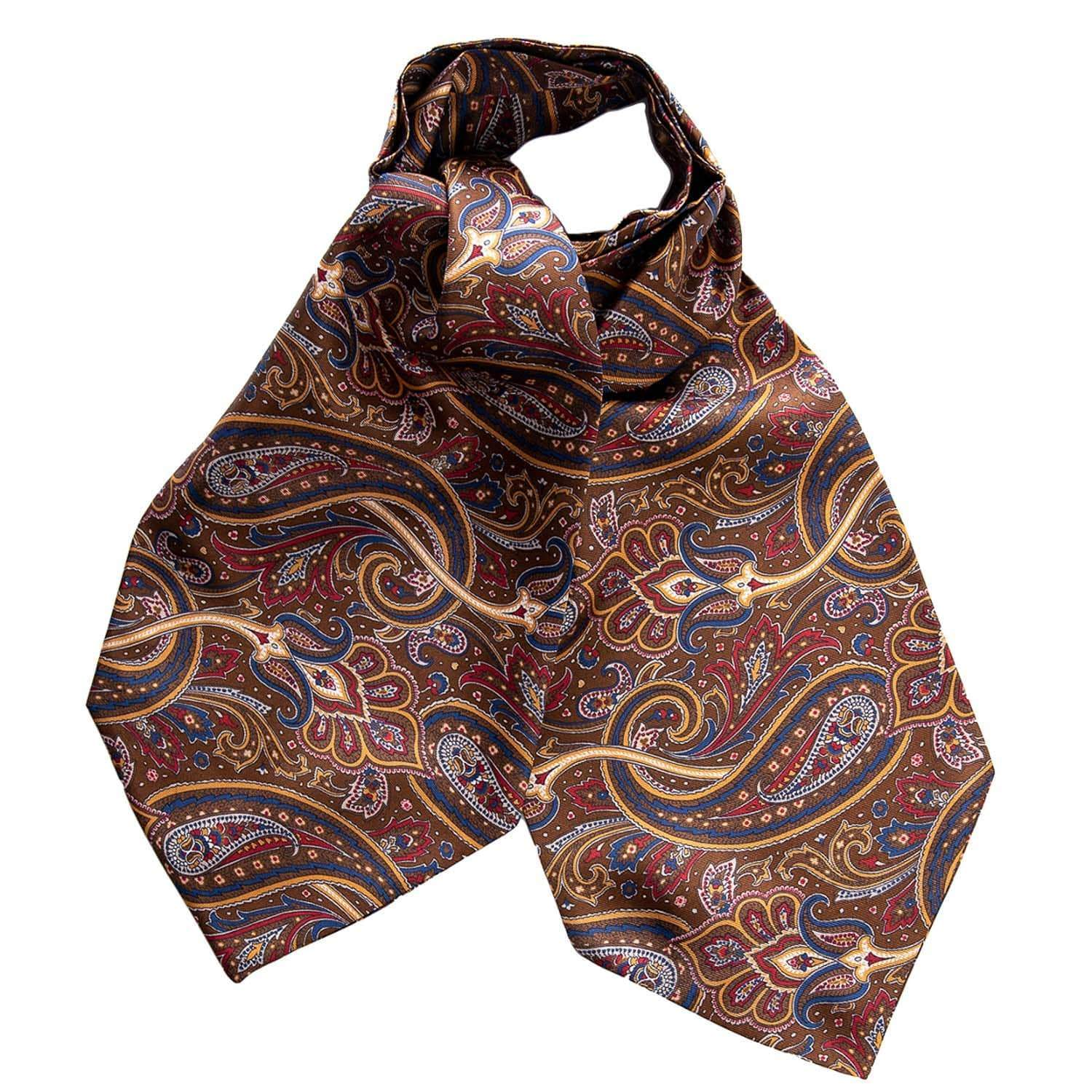 Brown Paisley Ascot Tie - Pure Silk - Made in Italy