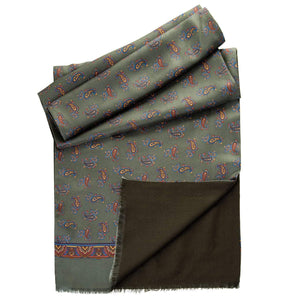 Mens Reversible Silk and Wool Scarf - Made in Italy