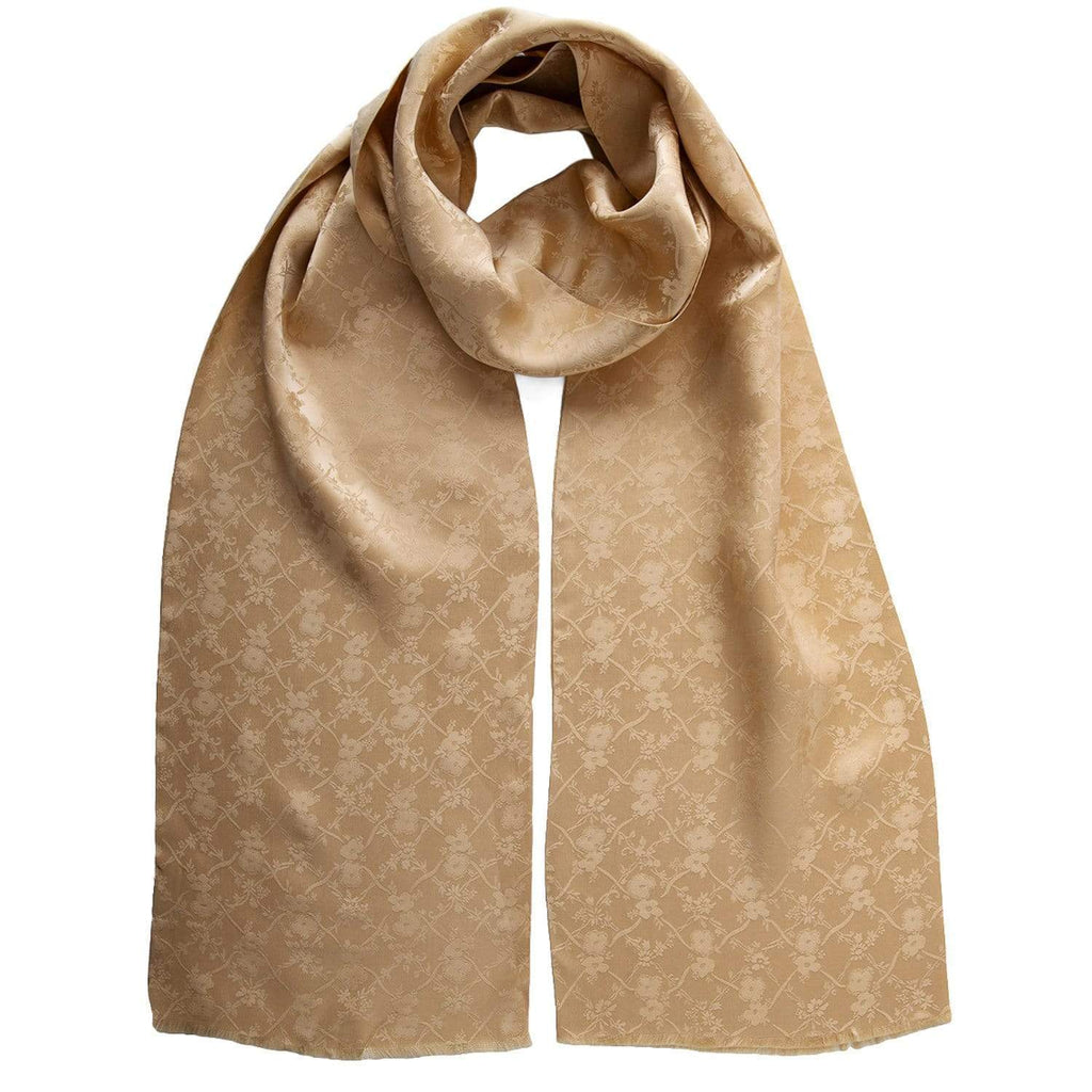 Mens Gold Silk Scarf - Dress Tuxedo - Made in Italy