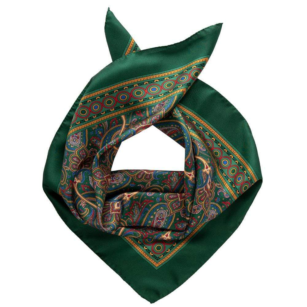 Mens Green Silk Neckerchief - Made in Como Italy