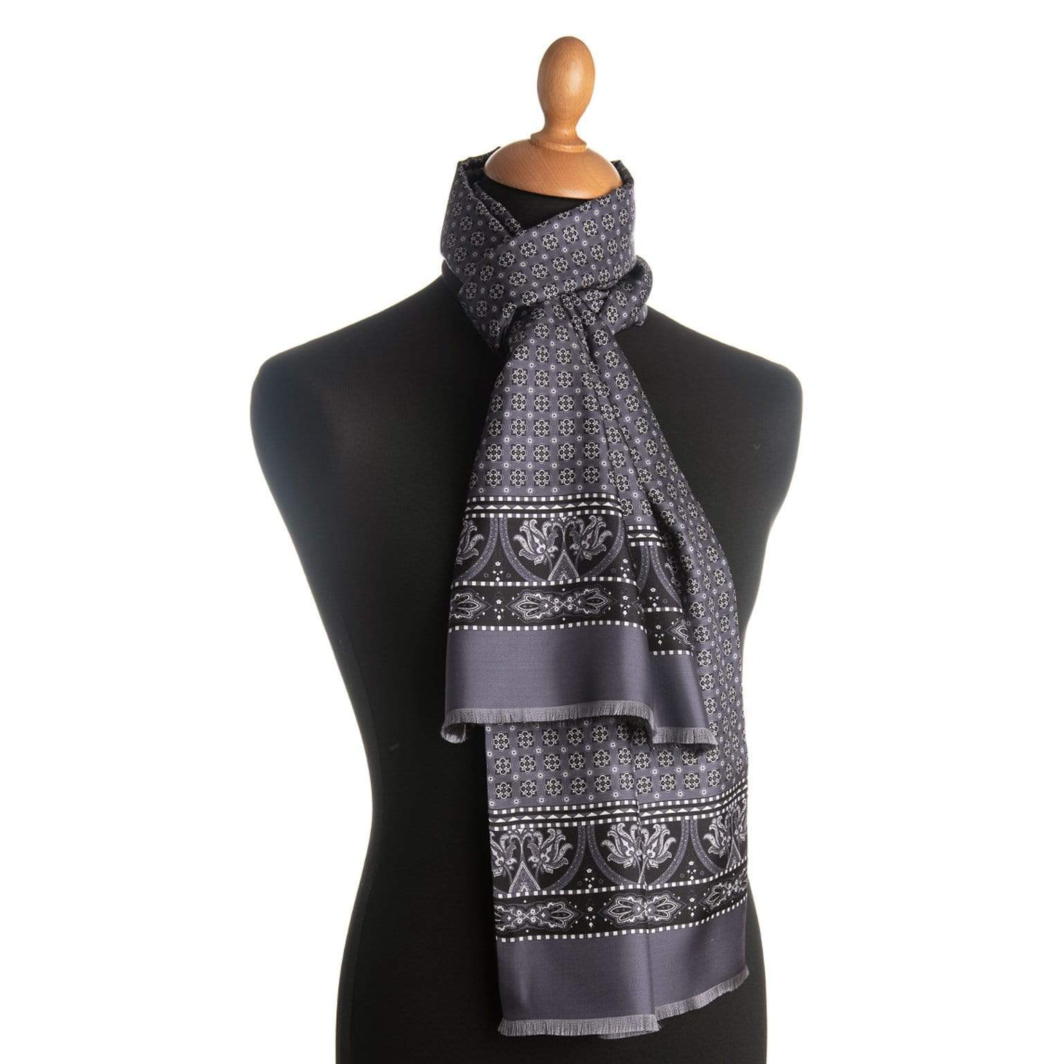 mens wool lined silk scarf