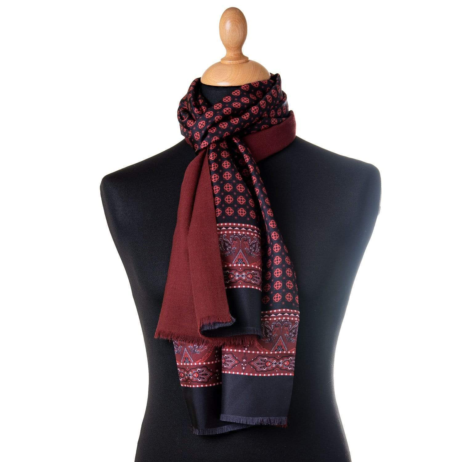 Red Black Silk Scarf -  Wool Lined - Made in Italy