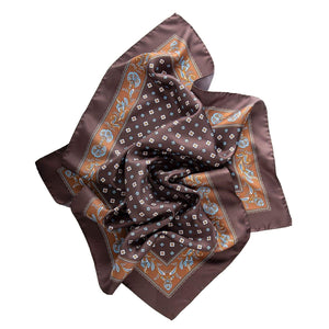 Brown Silk Neckerchief - Made in Italy - Medallion