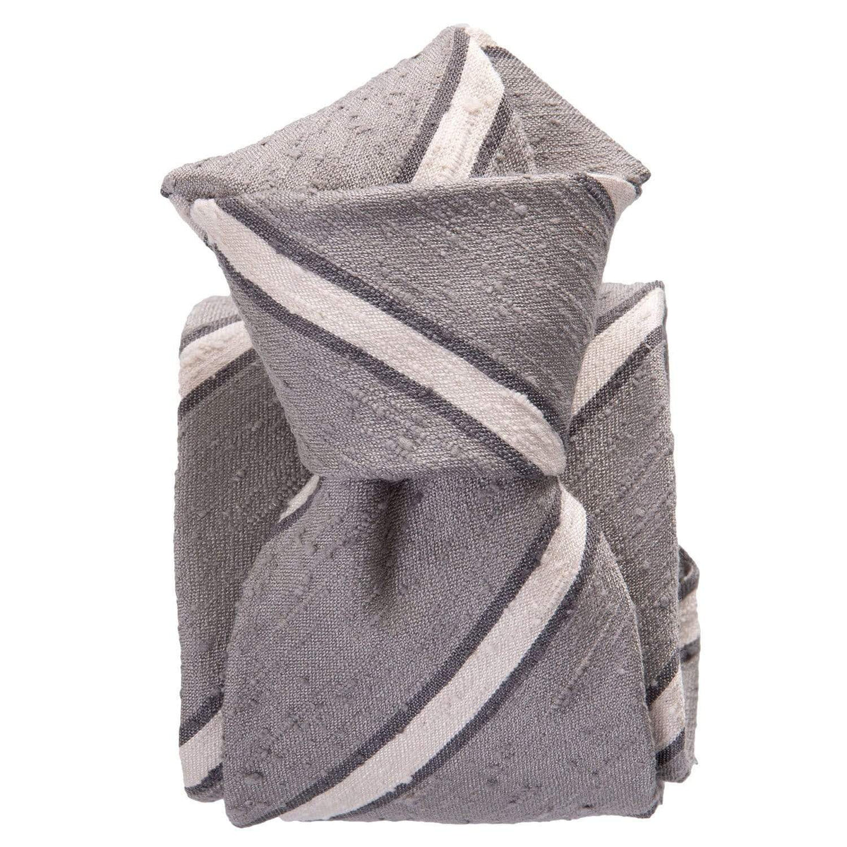 Striped Shantung Silk Tie - Grey - Made in Italy
