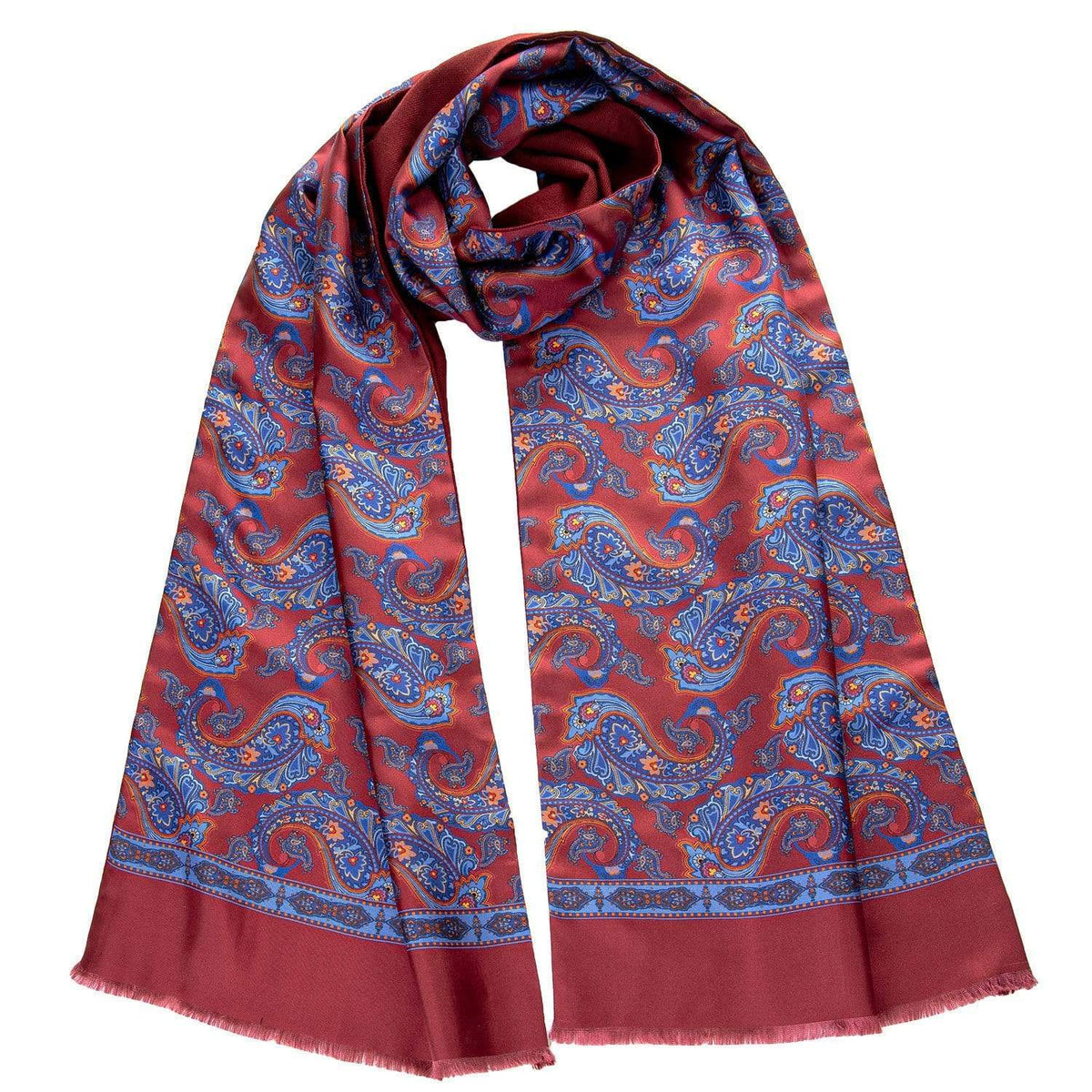 Mens Red Silk Paisley Scarf - Italian Wool Lined