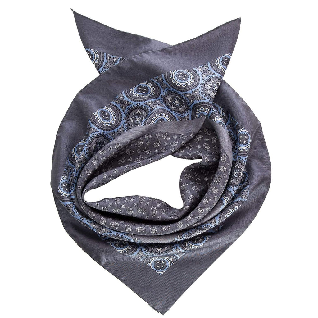 Italian Mens Silk Neckerchief-Grey and Blue Print