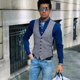 Mens Blue Silk Ascot Scarf - 100% Made in Italy