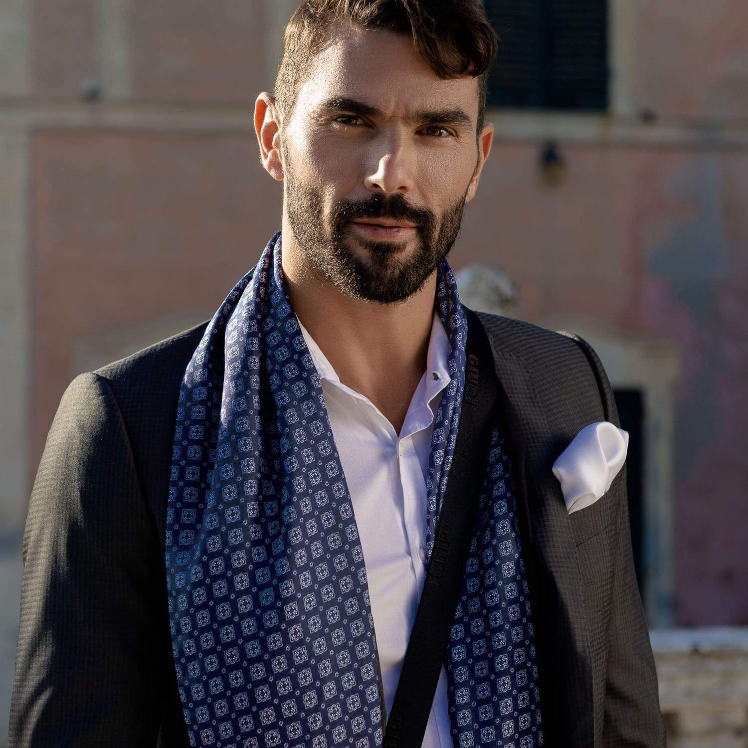 mens wool-backed silk scarf