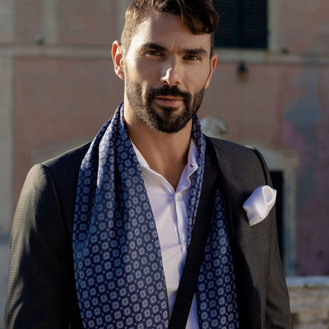 mens Italian silk wool tubular scarf