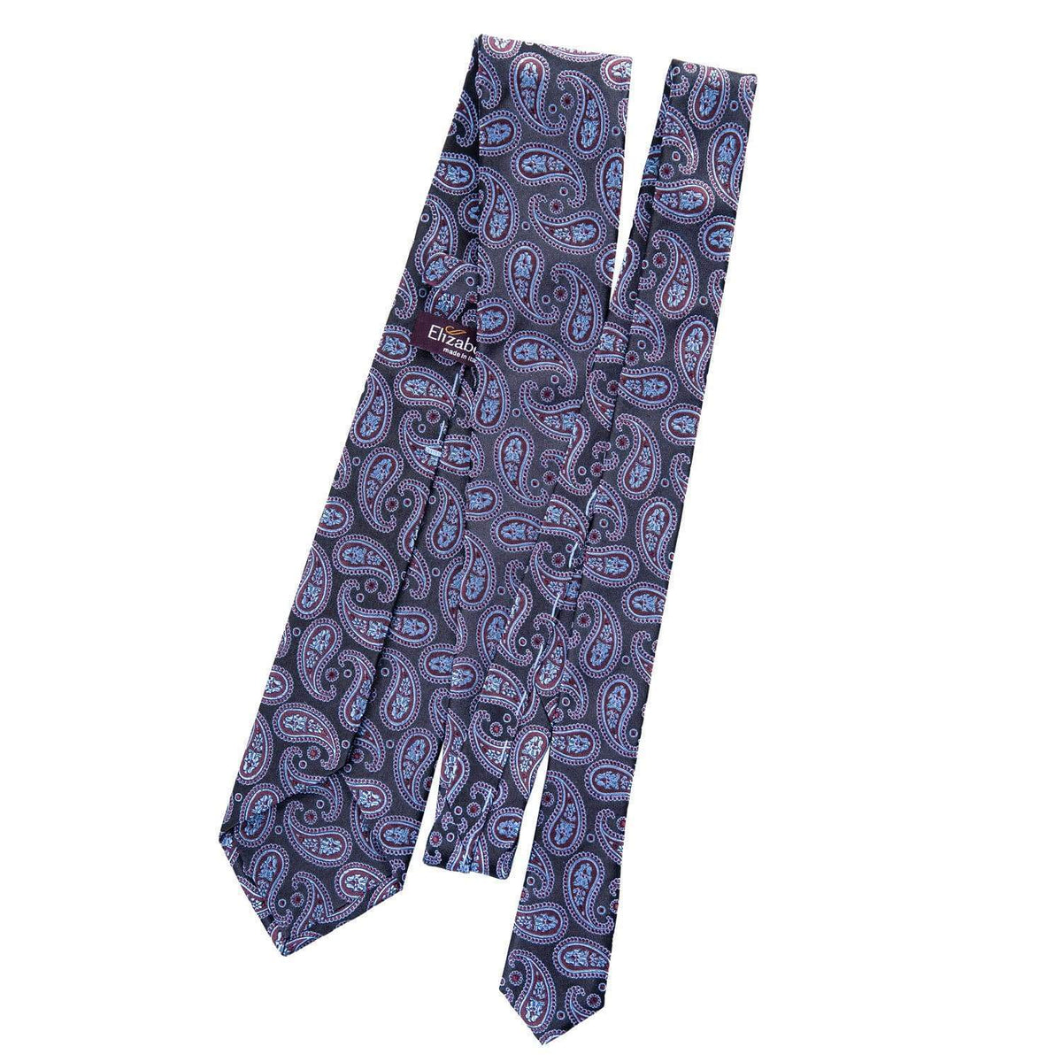 Burgundy and Blue Paisley Tie - Woven in Como, Italy