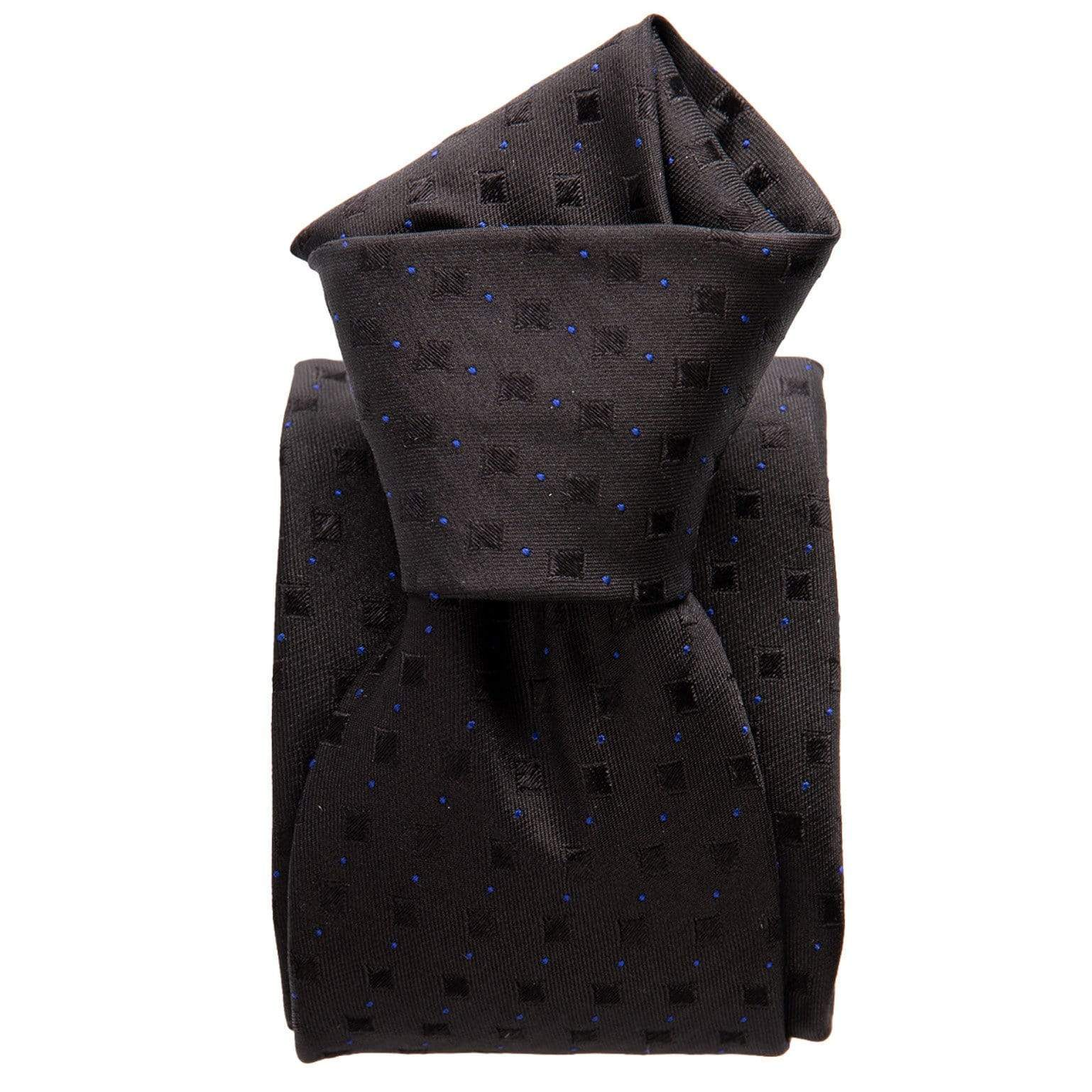 Black Woven Silk Tie - Three Fold - Made in Italy