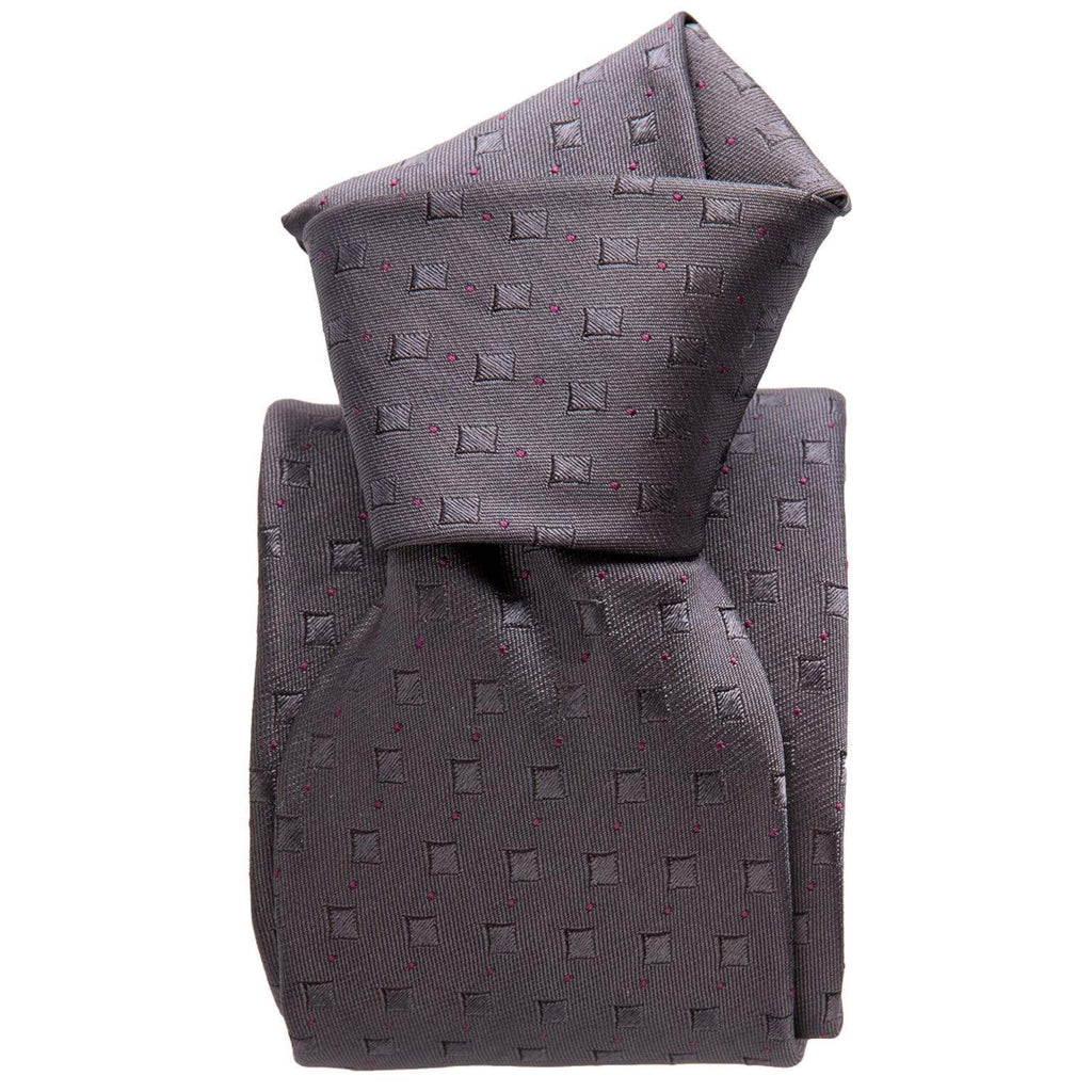 Mens Grey Silk Tie - Three Fold - Made in Italy