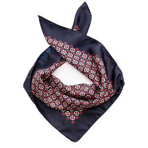 Italian Mens Silk Neckerchief - Navy & Burgundy