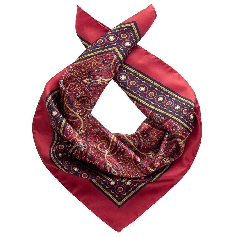 Mens Red Silk Paisley Scarf - Neckerchief - Made in Italy
