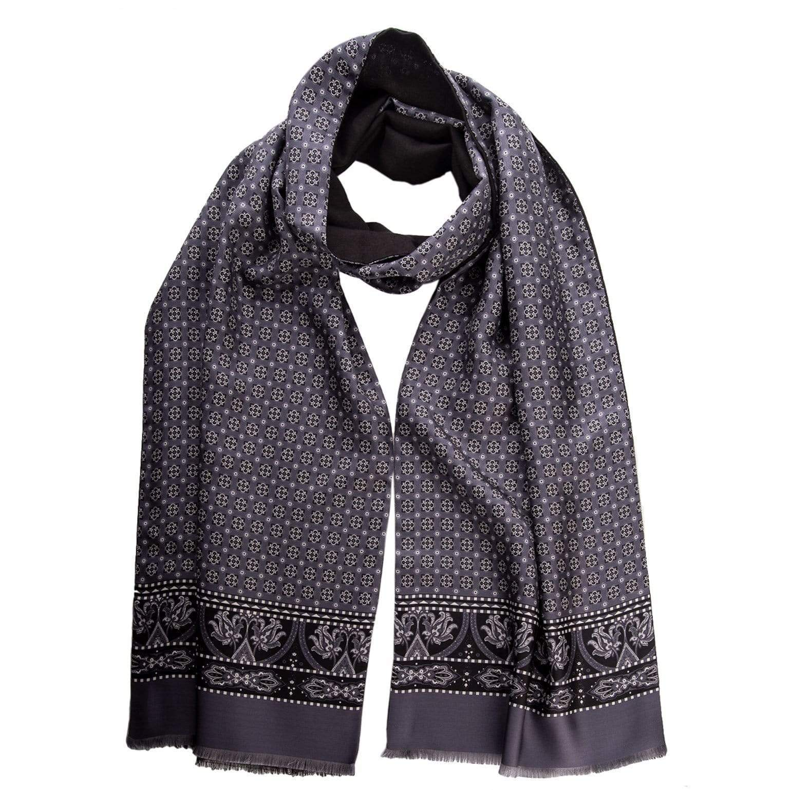 Reversible Silk Wool Scarf -  Grey - Made in Italy
