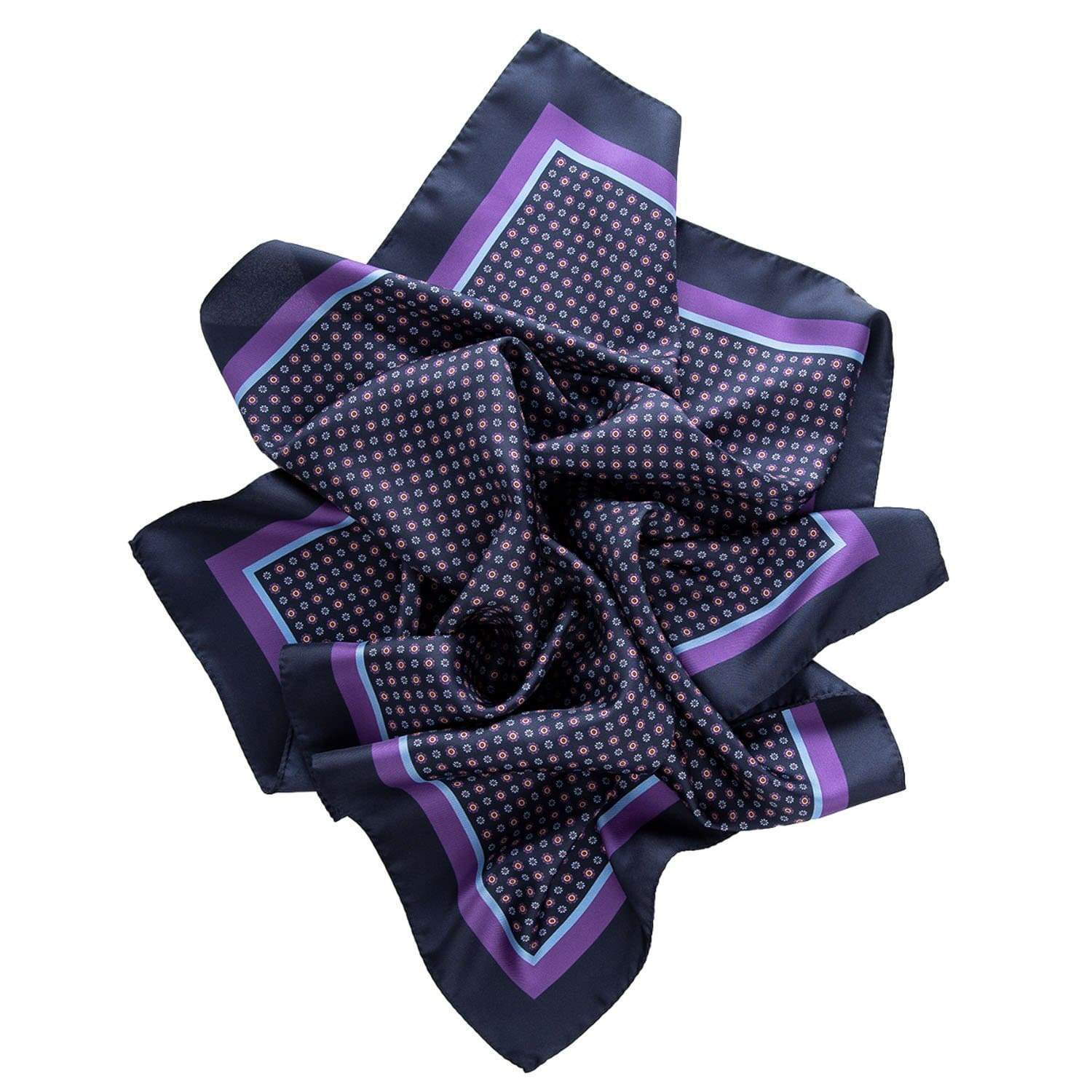 Mens Silk Neckerchief - Made in Italy - Navy & Purple