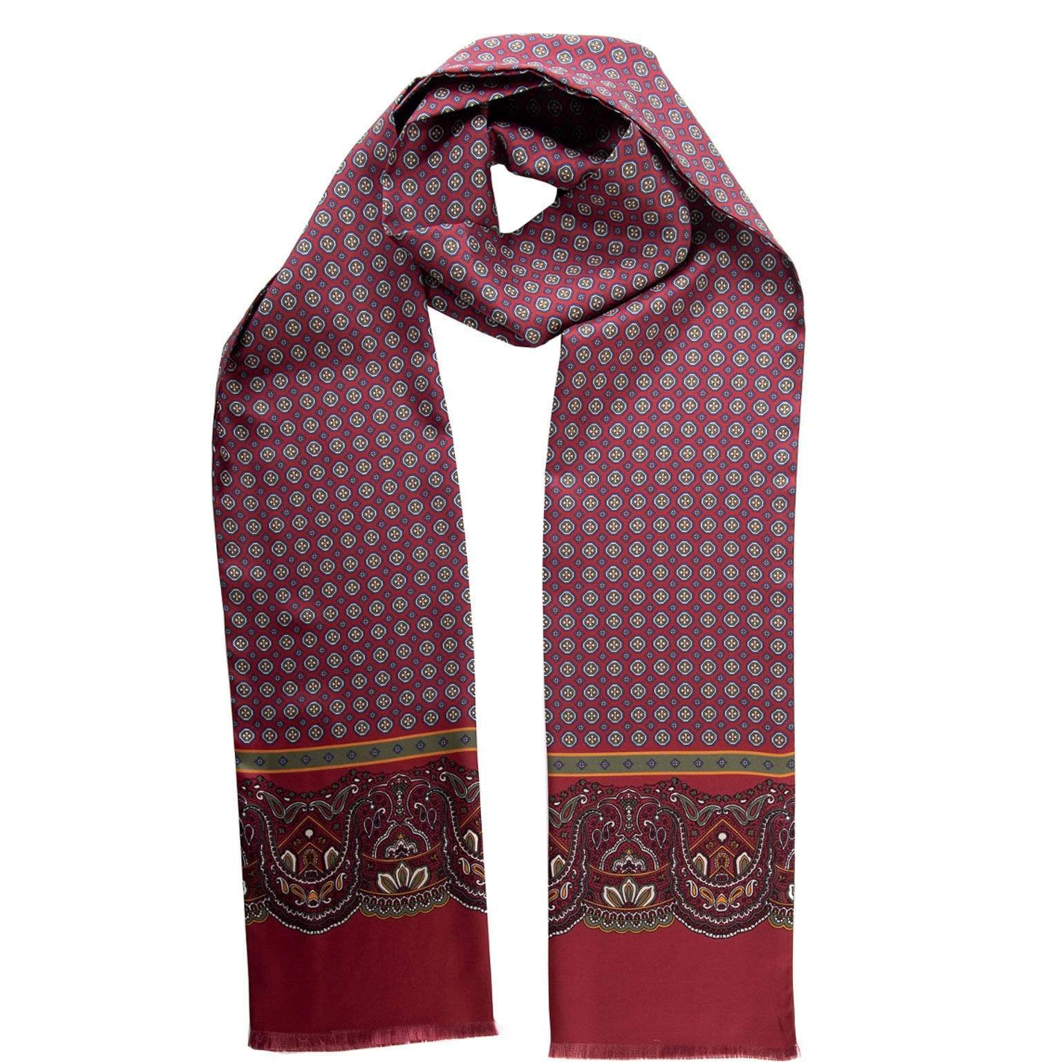 Mens Silk Dress Scarf - Burgundy 100% Made in Italy
