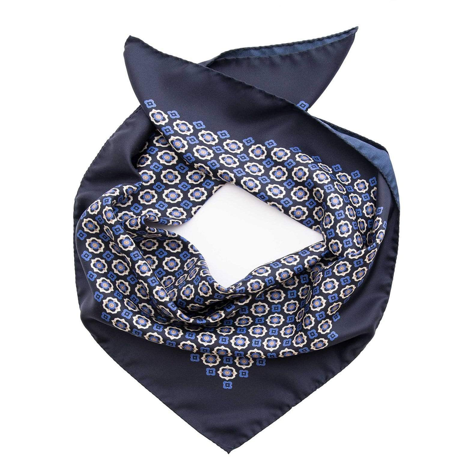 Mens Silk Neckerchief - Blue Print - Made in Italy
