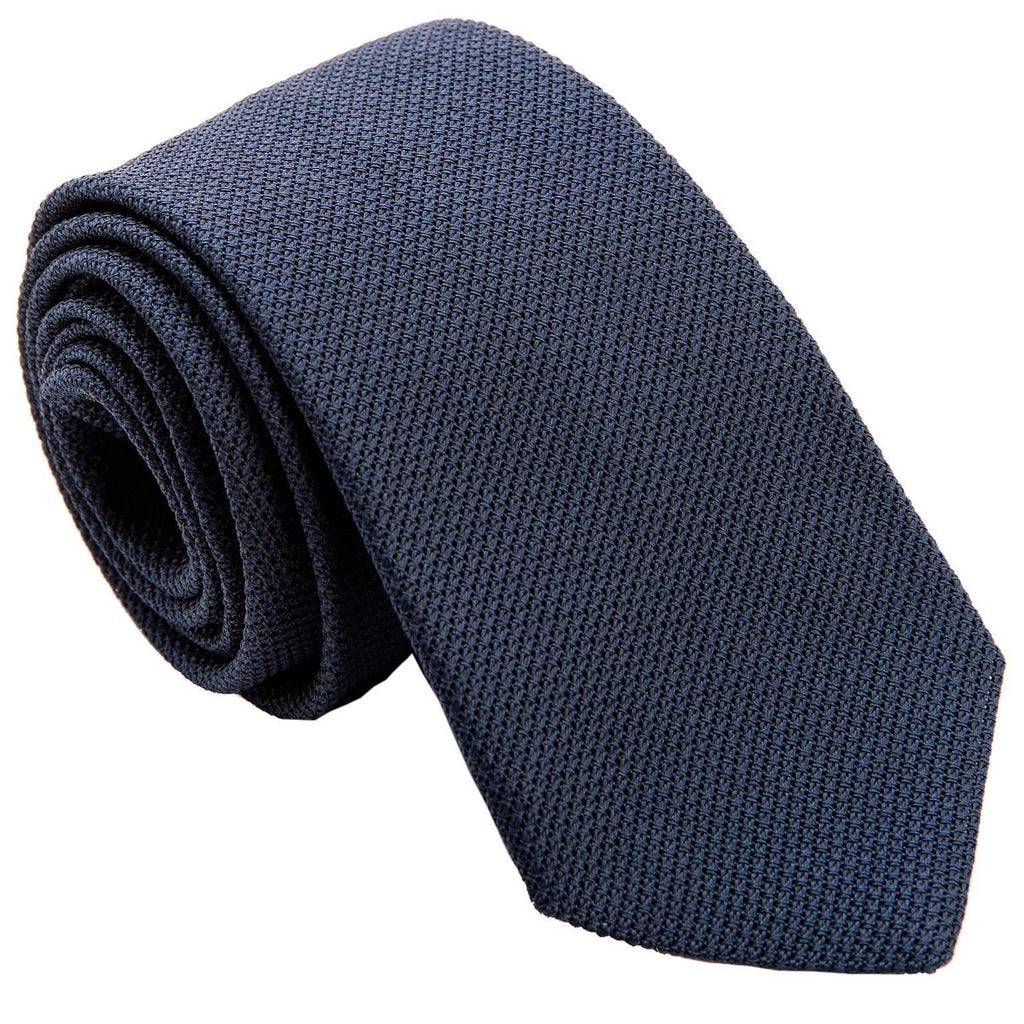 Italian Extra Long Grenadine Silk Tie - Navy Blue