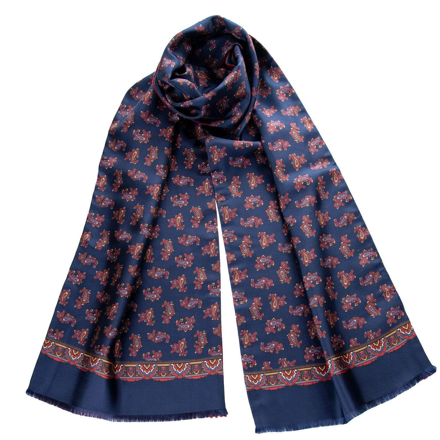 Silk Wool Reversible Scarf - Navy Blue Paisley