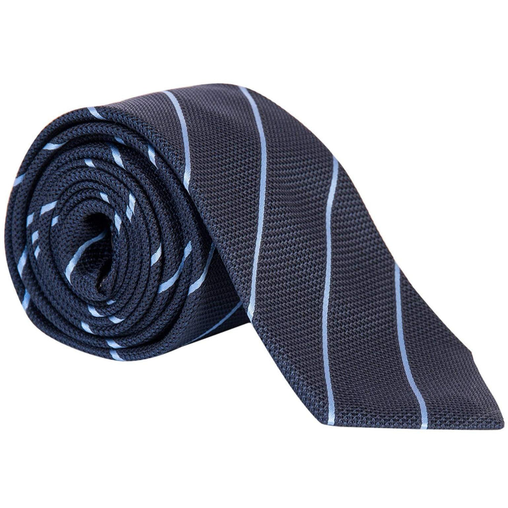 Extra Long Grenadine Tie - Navy & Pale Blue Striped
