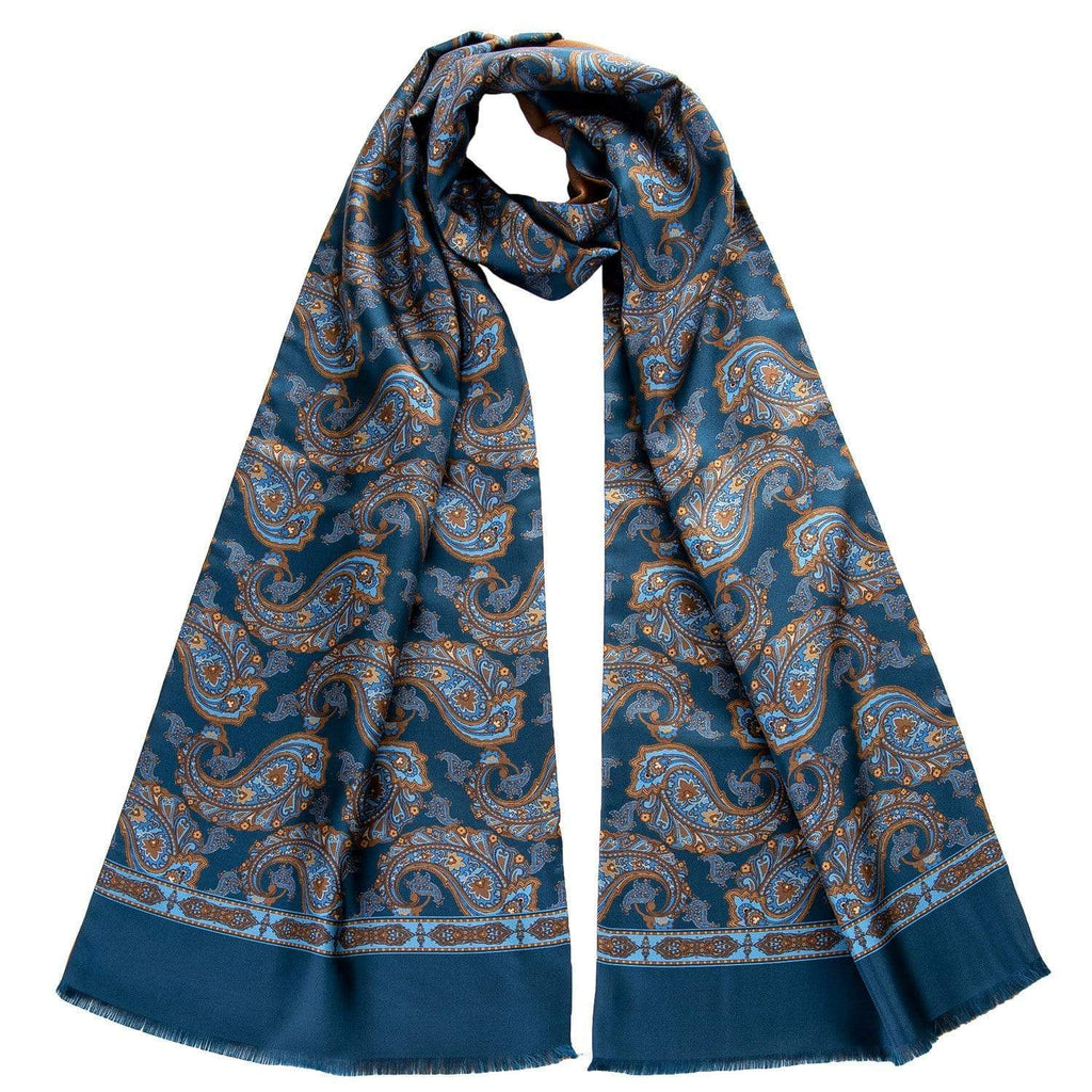 Mens Silk Paisley Scarf - Lined with Fine Weight Wool